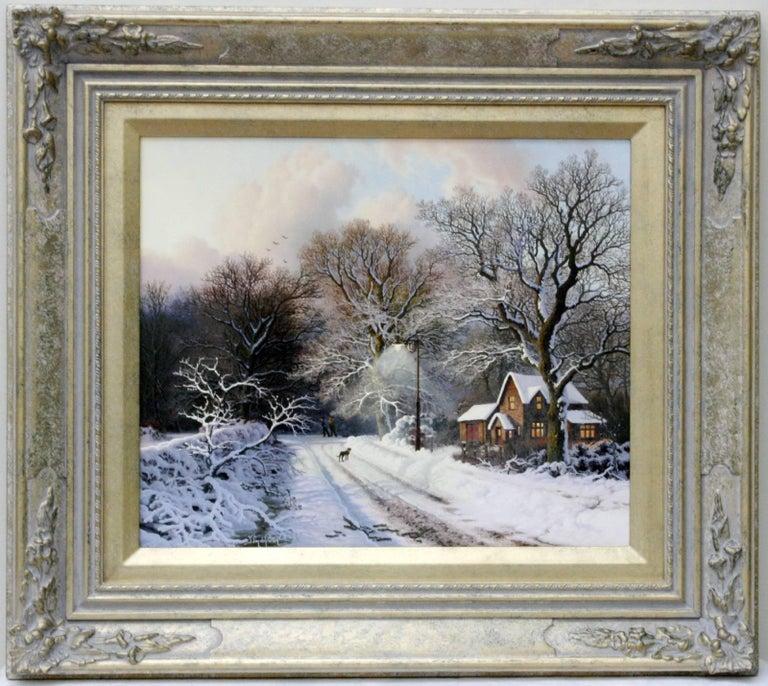 Daniel Van Der Putten Landscape Painting - Winter Evening, Warwickshire