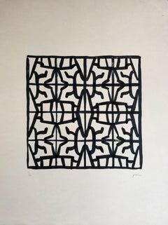 "Daniel Villela, ""Simetrías modulares 3/4"", Abstract geometric, Ink on cotton"