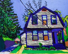 112 2nd St (Fauvist Style Oil Painting on Canvas of Gray House with Blue Trim)
