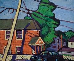 14 3rd St. Athens NY (Oil on Linen Town Street Landscape in Vivid Color Palette)