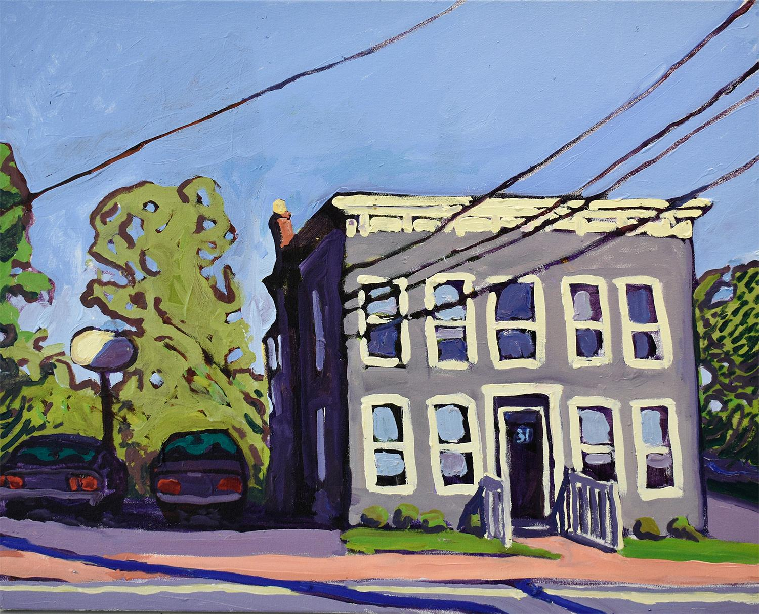 31 Washington Street (Contemporary Cityscape Painting of Building & Power Lines)