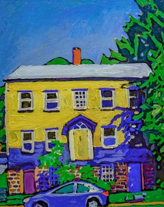 56 Washington, Athens NY (Fauvist Style Oil Painting of Yellow & Blue House)