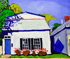 84 2nd St (Fauvist Style Oil Painting on Canvas of White Cottage with Blue Door)
