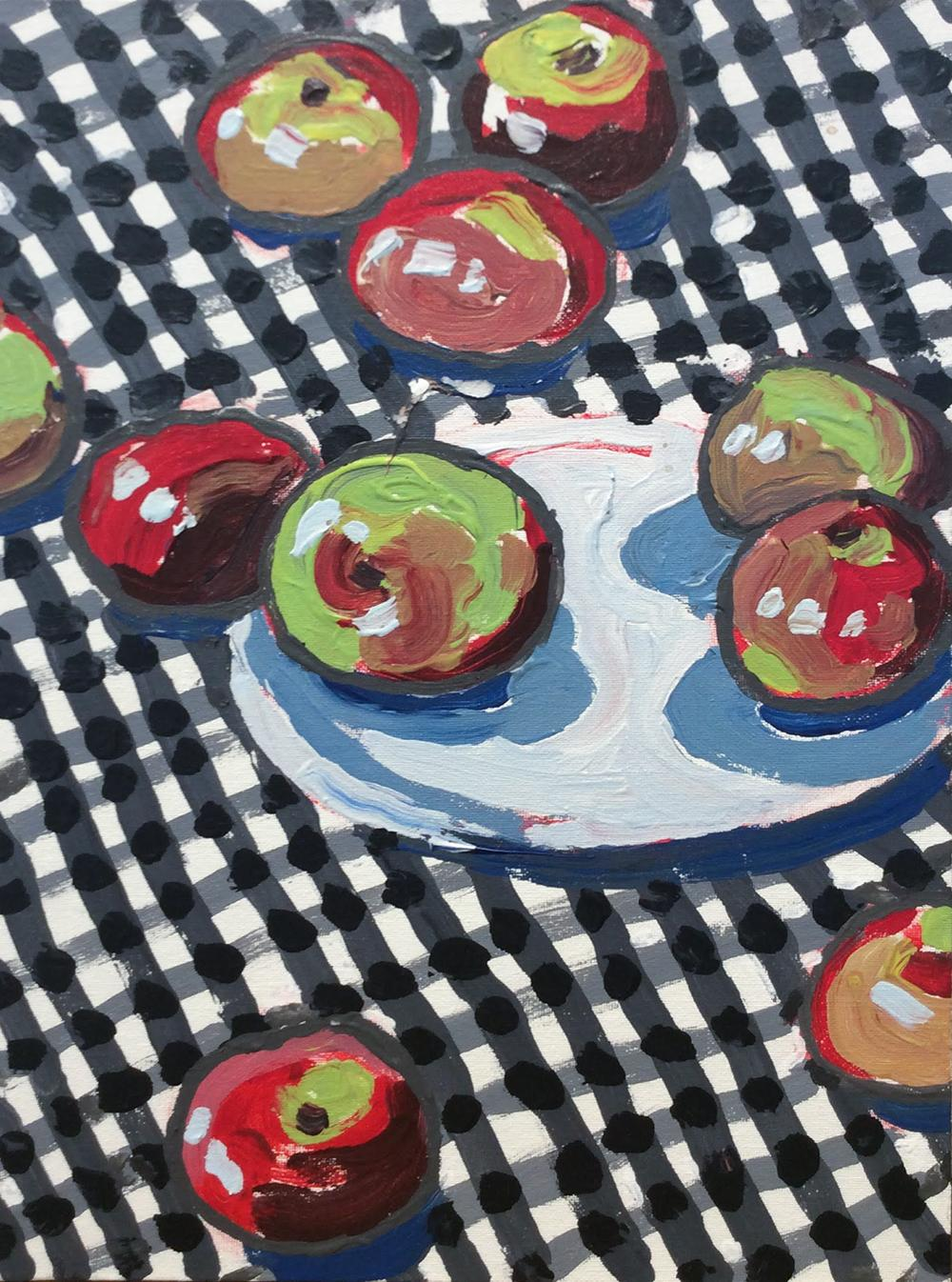 Apples and Plate (Fauvist Style Still Life Painting of Apples on Gingham)