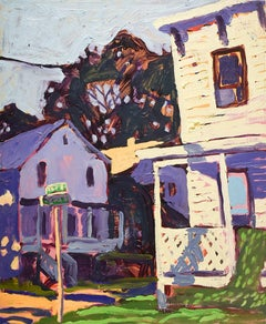 Church & 3rd Street, Athens, NY (Fauvist Style Cityscape Oil Painting on Canvas)