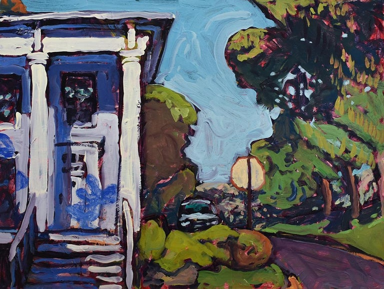 Dan Rupe Still-Life Painting - First and N. Church St, Athens NY (Fauvist Style Cityscape Painting)