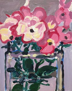 Hazel's Roses (Abstracted Fauvist Style Still Life Painting of Pink Flowers)