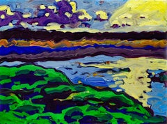 Leeds Athens Marsh (Fauvist Style Oil Painting on Canvas of Sunlit Landscape)
