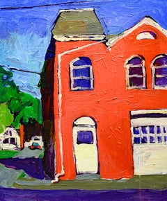 Macawamio Firehouse Athens, NY (Fauvist Style Cityscape Painting on Canvas)