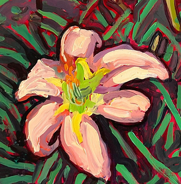 Peach Lilies (Contemporary Still Life of Vibrant Tiger Lilies, Oil on canvas)  - Painting by Dan Rupe