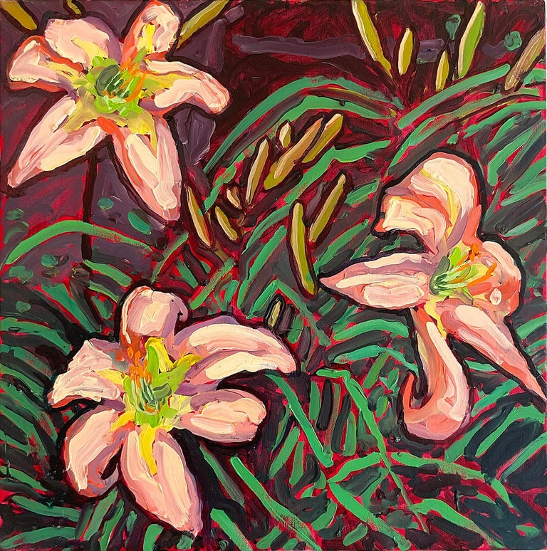 Dan Rupe Still-Life Painting - Peach Lilies (Contemporary Still Life of Vibrant Tiger Lilies, Oil on canvas)