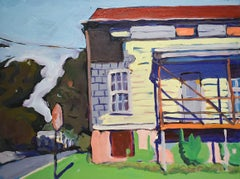Stop! Old House, Athens, NY (Fauvist Style Cityscape Oil Painting on Canvas)