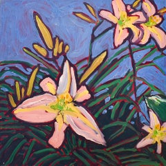 Summer Day Lilies (Fauvist Style Floral Still Life Painting on Canvas)