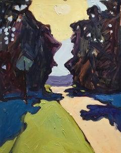 Sunset Road (Oil on Linen Town Street Landscape in Vivid Blue/Green/Aubergine)