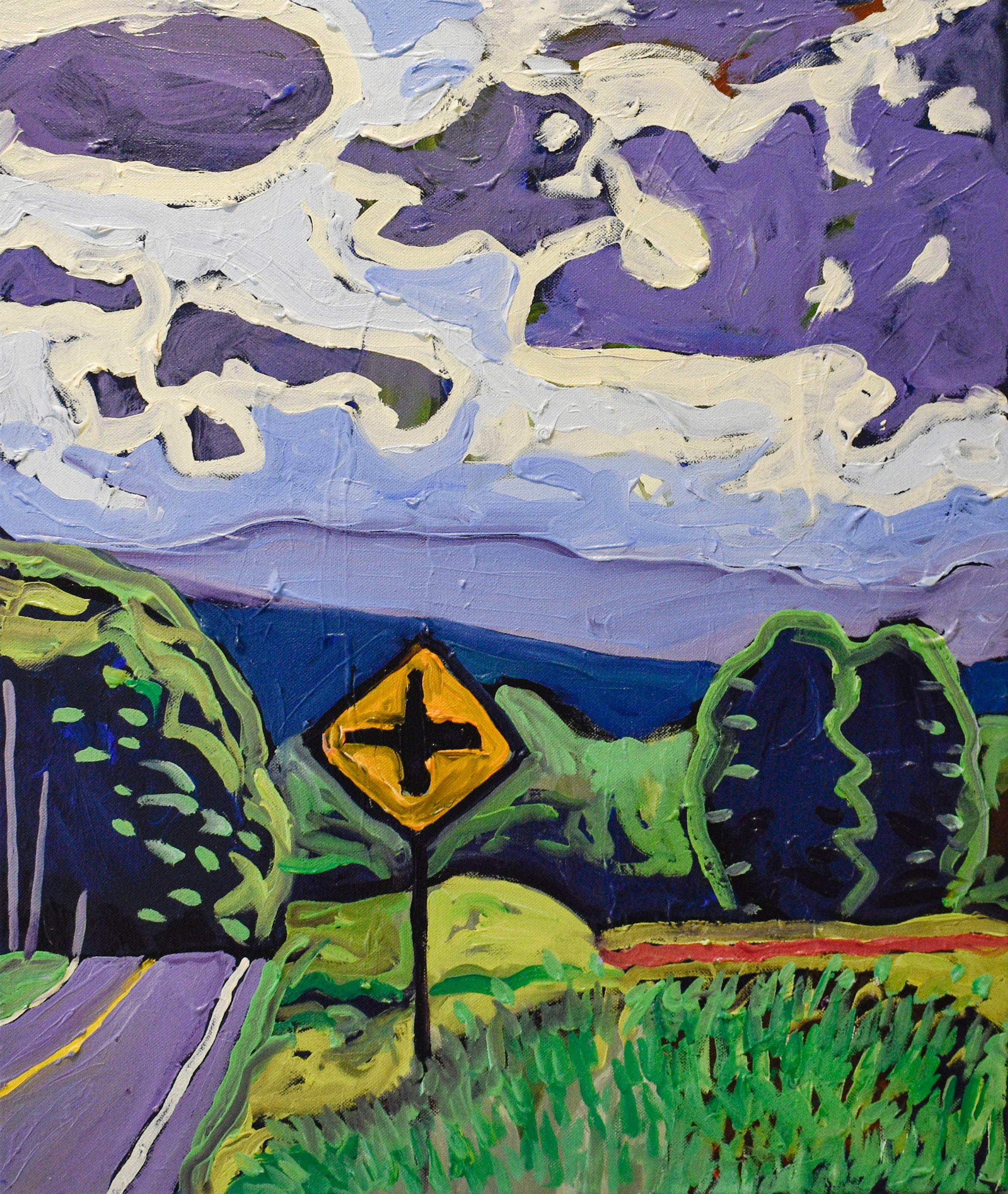 Top of Leeds Athens Road (Fauvist Style Landscape Painting of Country Mountains)
