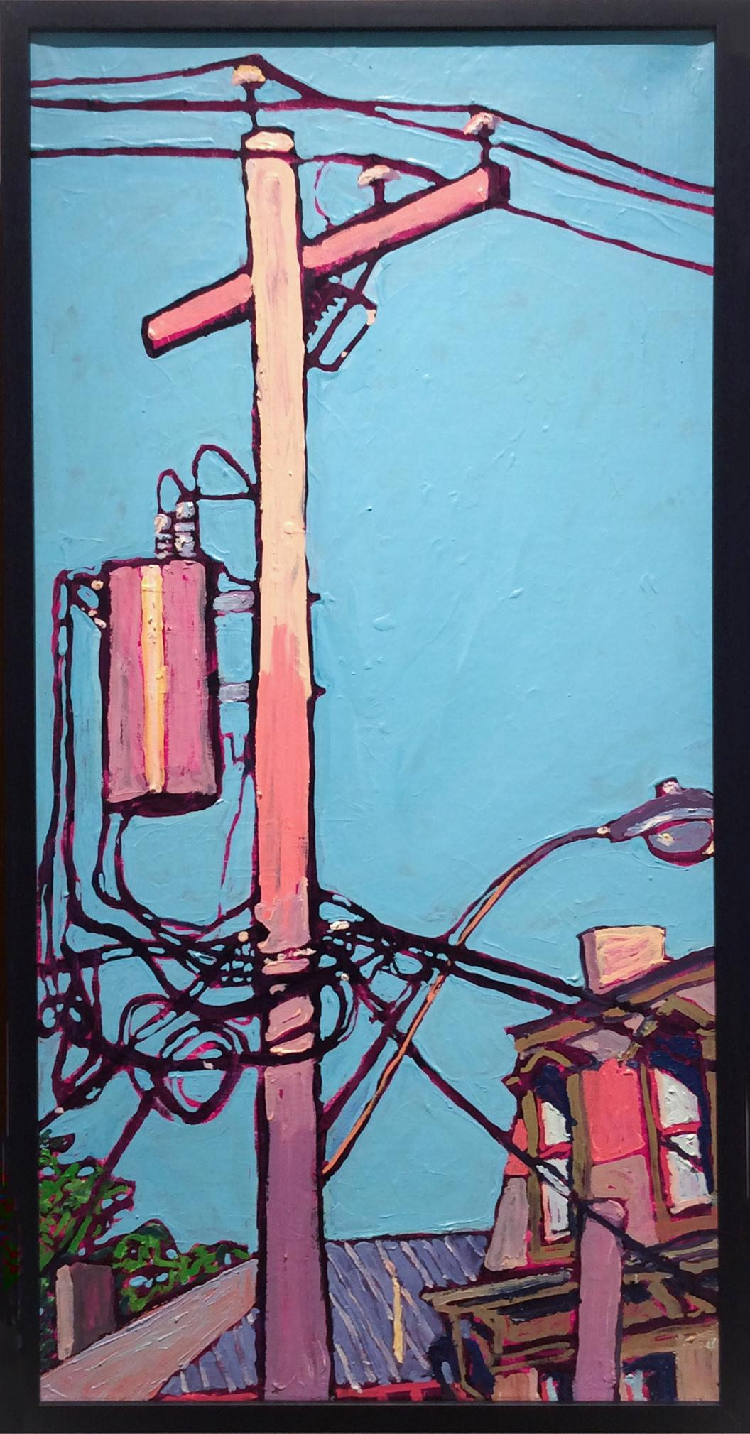 Transformers on Columbia: Fauvist Style Cityscape Painting with Blue Sky, Framed