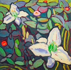 Two Day Lilies (Fauvist Style Still Life Painting of White Flowers on Green)
