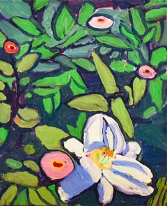 White Day Lilies & Zinnias (Fauvist Style Flower Still Life Painting on Canvas)