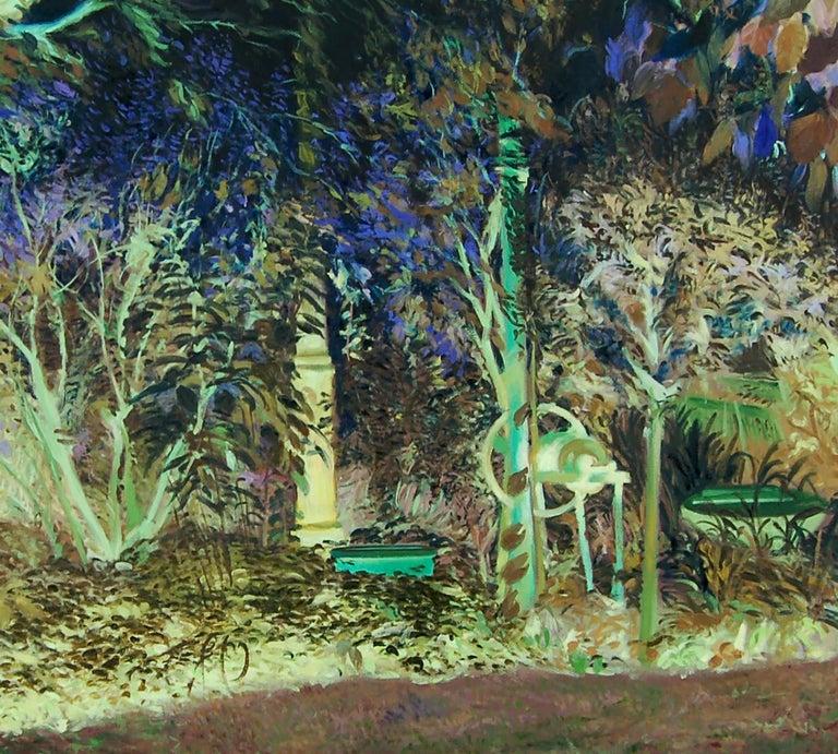 Oana's garden - 21st Century, Landscape, Green, Blue, Trees, Forest, Figurative - Painting by Daniela Bălăneanu
