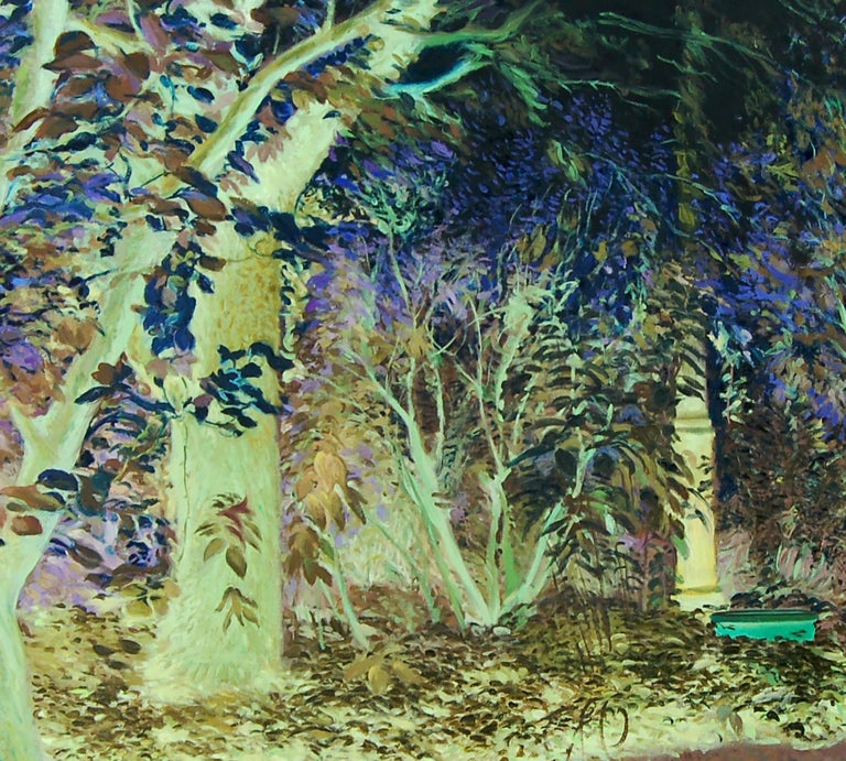 Oana's garden - 21st Century, Landscape, Green, Blue, Trees, Forest, Figurative - Expressionist Painting by Daniela Bălăneanu