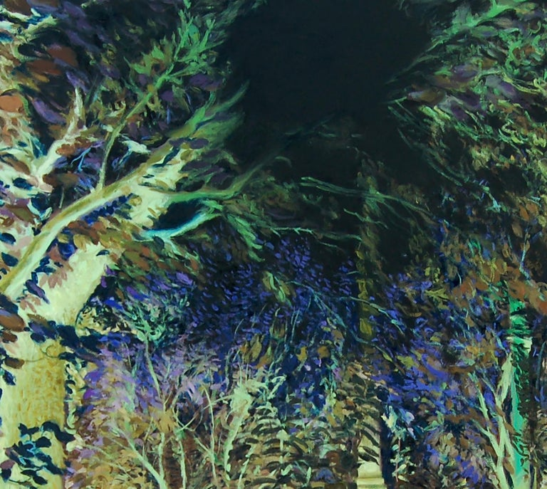 Oana's garden - 21st Century, Landscape, Green, Blue, Trees, Forest, Figurative - Black Landscape Painting by Daniela Bălăneanu