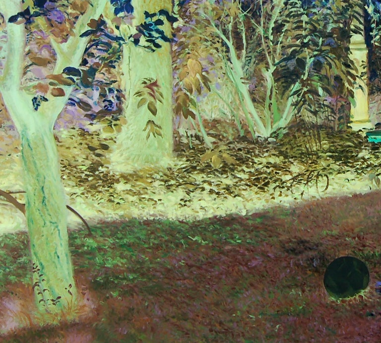 """Oana's garden, 2009 Oil on canvas (Signed on reverse) 39 2/5 H × 39 2/5 W in 100 H × 100 W cm  """"Oana's Garden"""" by Dana Bălăneanu represents a search of a lost time. The artist creates a parallel world, far away from the town's rustling, a world in"""