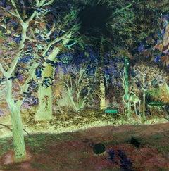 Oana's garden - 21st Century, Landscape, Green, Blue, Trees, Forest, Figurative