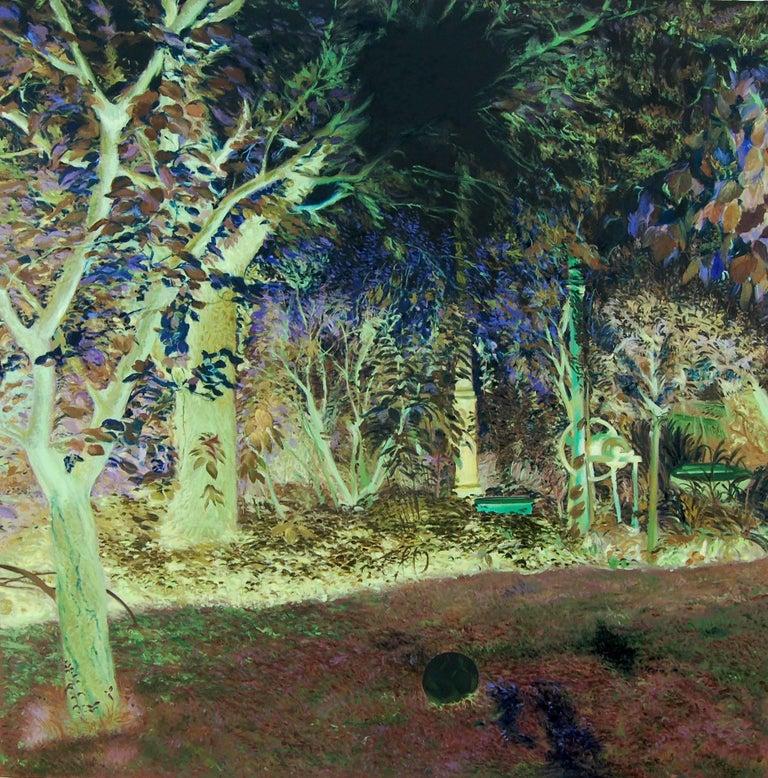 Daniela Bălăneanu Landscape Painting - Oana's garden - 21st Century, Landscape, Green, Blue, Trees, Forest, Figurative