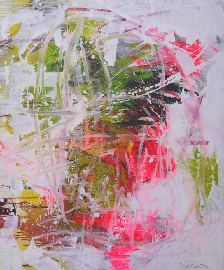 Daniela Schweinsberg Abstract Painting - Always a good girl - Abstract painting Pink, Blue, Green, colorful bold art