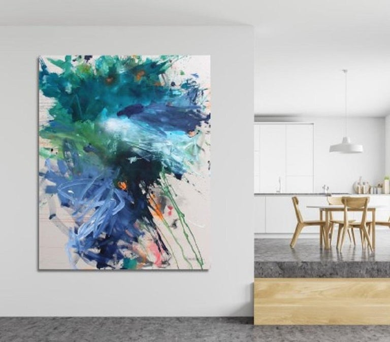 Bad Hair Day (Abstract Expressionism painting) - Blue Abstract Painting by Daniela Schweinsberg