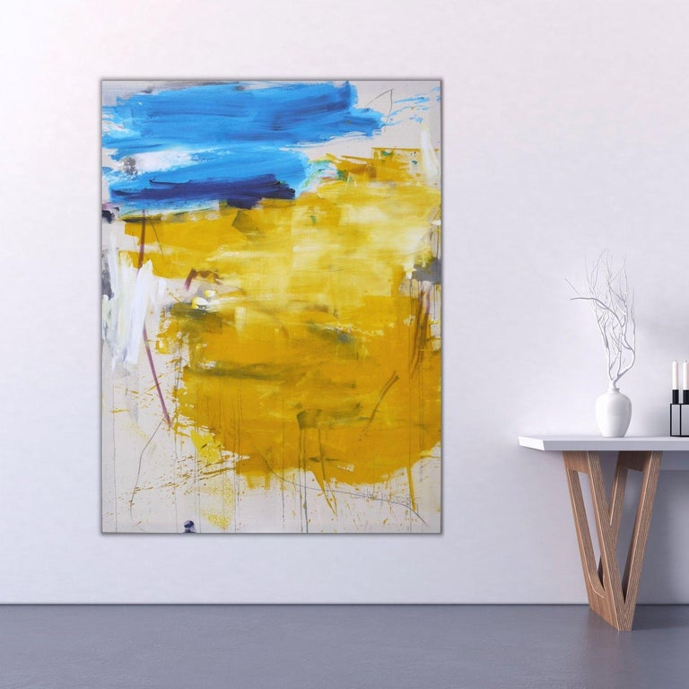 Finistere I, Painting, Acrylic on Canvas - Orange Abstract Painting by Daniela Schweinsberg