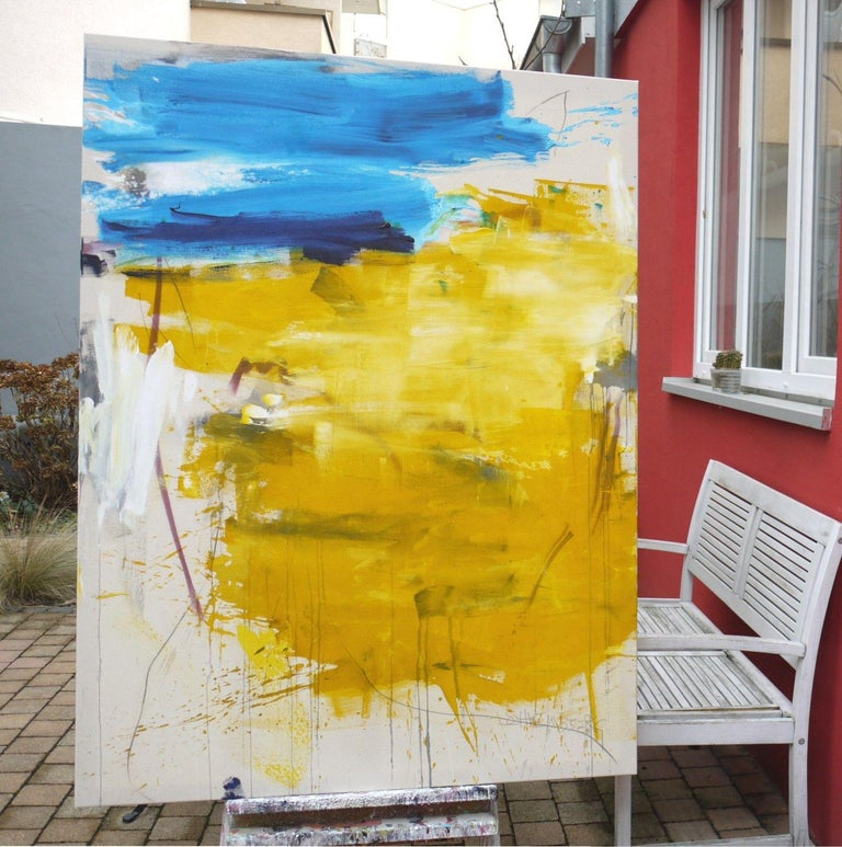 In reminiscence of gorgeous weeks in Bretagne (Brittany) late summer 2018.    The colours of the painting are by far more beautiful in real, it's hard to photograph this combination of yellow and turquoise-blue, even more in winter when the light