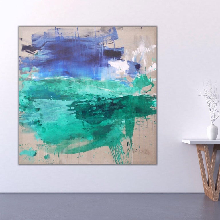 Finistere III, Painting, Acrylic on Canvas - Blue Abstract Painting by Daniela Schweinsberg