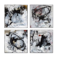 So Many Words 4 Abstract paintings, Black, White Contemporary, Minima,l Small