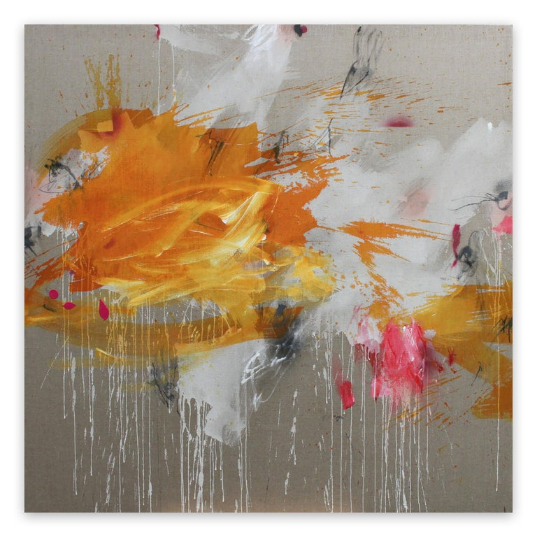 Solar storm (Abstract painting) - Brown Abstract Painting by Daniela Schweinsberg