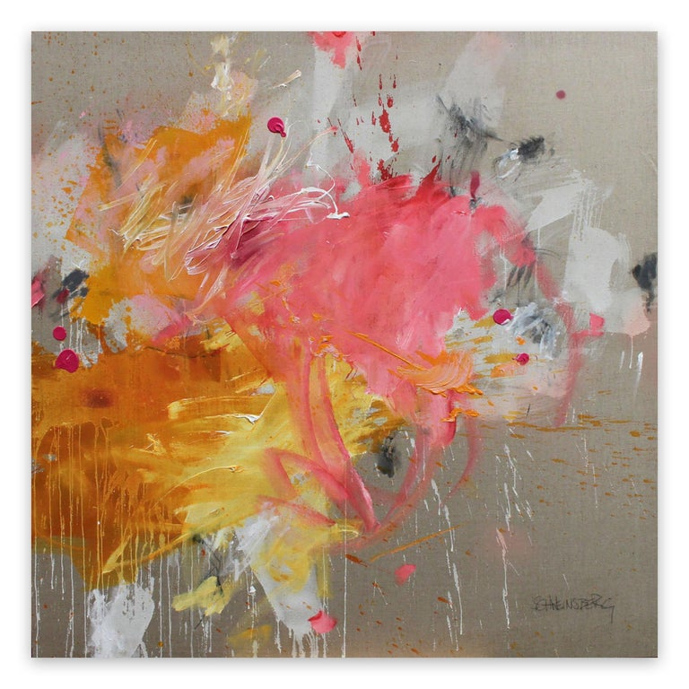 Solar storm (Abstract painting)  Acrylic / mixed media on linen - Unframed.  This work is exclusive to IdeelArt.  Diptych, 140x140 cm / 55.2x55.2 in  Working in the emotionally charged, gestural tradition of painters like Cy Twombly, Joan Mitchell