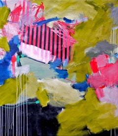 Urban Views by D. Schweinsberg Contemporary Pink Stripes Urban Abstract Painting