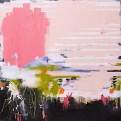 Urban Views Garden by D Schweinsberg Contemporary Pink Stripes Abstract Painting