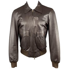 DANIELE ALESSANDRINI 40 Brown Leather Flap Pocket Collared Bomber Jacket