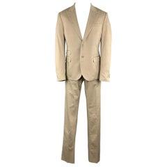 DANIELE ALESSANDRINI Khaki Cotton / Elastane 36 x 36 Peak Lapel Suit