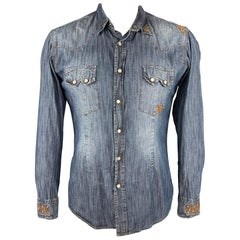 DANIELE ALESSANDRINI Size L Indigo Distressed Snaps Long Sleeve Shirt
