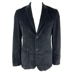 DANIELE ALESSANDRINI Size M Navy Corduroy Cotton / Elastane Sport Coat