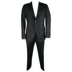DANIELE ALESSANDRINI Suit - Size US 44 Short Charcoal Chalkstripe Wool