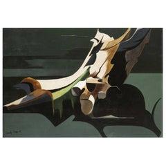 """Daniele Perre """"La fuite immobile"""" Oil on Canvas, 1988"""