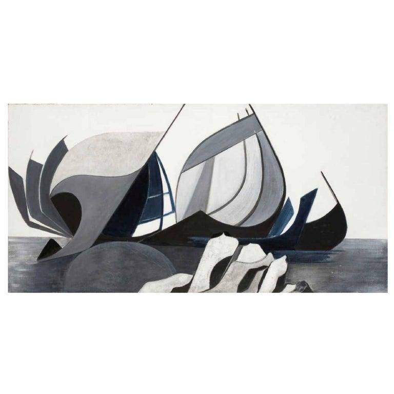 """Danièle Perré, """"La Nef Au Rocher"""", Oil on Canvas, Signed For Sale"""
