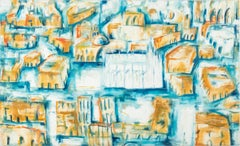 Landscape Figurative Contemporary Italian Painting View Of Milan