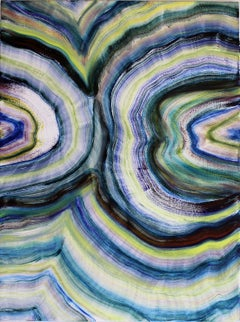 Nazca, multicolored gestural abstract oil painting