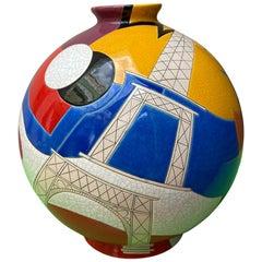 Danillo Curetti, Colonial Ball Vase of Longwy, 1980