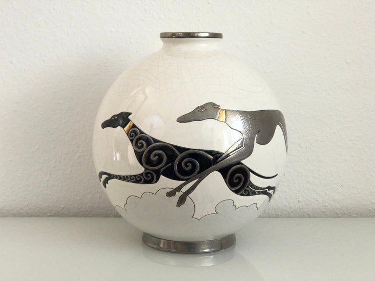 Art Deco Danillo Curetti Levriers Greyhound Vase Limited Edition from Emaux de Longwy For Sale