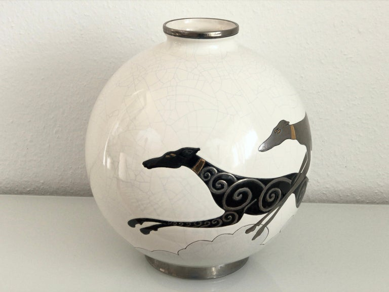 French Danillo Curetti Levriers Greyhound Vase Limited Edition from Emaux de Longwy For Sale